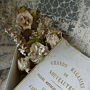 Faded grandeur French shop box : bride's artificial wedding flowers, circa 1900
