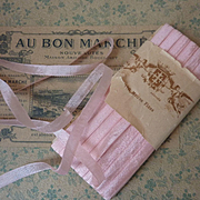 Delicious 19th C. French unused narrow soft pink silk ribbon ( 10 yards ) projects