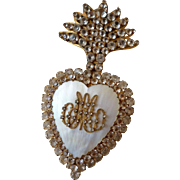 Bejeweled 19th century French flaming sacred heart : MOP : paste stones : initials AM : 5 1/2 inches