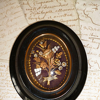 Charming 19th C. French devotional reliquary : floral bouquet : banners : paperolle work : glass beads
