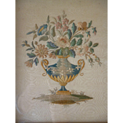 Decorative antique French silk work embroidery : vase overflowing with flowers : roses