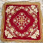 Splendid antique French chalice cover : gold metallic chenille embroidery : faux pearls : religious textile