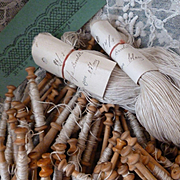 Batch 92 French wooden lace makers bobbins : pattern : skeins pure linen thread : circa late 1800's