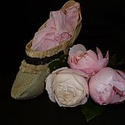 Rare antique French ladies eau de nil shoe : champagne black frill embellishment : circa 1780