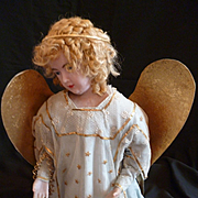 Rare antique French heavenly wax winged kneeling angel statue : convent work : 20 1/2 inches high