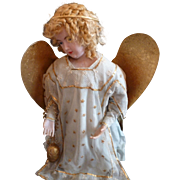Rare fairy tale antique French wax winged kneeling angel statue : convent work : 20 1/2 inches high