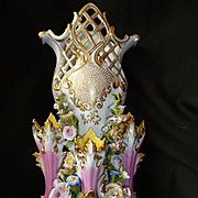 Decorative 19th C. French Jacob Petit large porcelain wedding vase : encrusted flowers : Rococo style