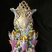 Decorative 19th C. French Jacob Petit large porcelain wedding vase : encrusted flowers : Rococo style
