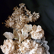 Faded grandeur 19th C. bride's artificial flower wedding bouquet : lace : ribbon bow