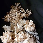Faded grandeur 19th C. bride's artificial flower wedding bouquet : lace : ribbon bow