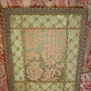 Decorative antique French easel green brocade photo frame : gold metallic passementerie trim : circa 1900