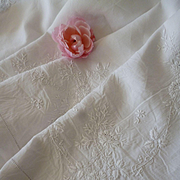 Exquisite antique French fine linen hand embroidered sheet : floral garlands : 93 x 124 inches