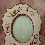 Delicious old French easel boudoir photo frame : hand embroidered  rosebuds : metallic lace  ( no. 1 )
