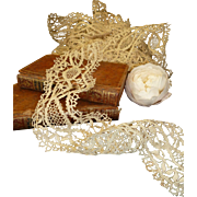 2 flounces of old unused French ecru hand made lace : 2 lengths :  total 9 yards
