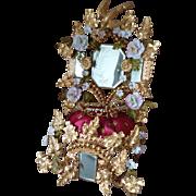 Gleaming 19th C. French ormolu wedding cushion display stand : porcelain carnations : clover motifs