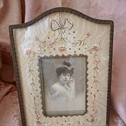 Faded grandeur French ribbon work boudoir photo frame : metallic trim : sequins : ribbon bow, circa 1900 ( no. 1 )