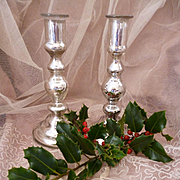 Decorative pair antique French heavy weight mercury glass eglomise candlesticks
