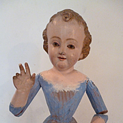 Faded grandeur 19th C. Spanish carved wood Infant Jesus statue : glass eyes : devotional piece