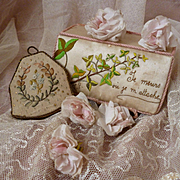 Hand made & embroidered French silk box and ribbon work ring / watch pouch : circa 1900