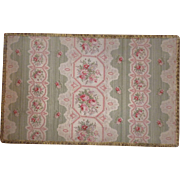 Delicious French green fabric covered boudoir box : rose motifs : metallic trim : circa 1900