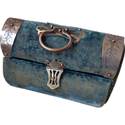 Faded grandeur French blue velvet sewing etui bag : purse : case : Napoleon III period