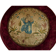 Exquisite antique French mounted religious hand embroidery : Blessed Virgin Mary