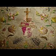 Exquisite antique French Georgian silk work purse : flaming sacred heart : floral & metallic motifs