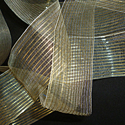 Ethereal vintage French sheer ribbon with gold metallic thread : 10 yards (  2 lengths ) : projects