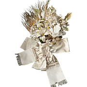 Romantic French wedding anniversary artificial flower bouquet: Lily of the Valley : lily : Lilac : blossom : ribbon : 1911