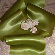 Morceau old French extra wide pea green satin ribbon : doll projects :  80 inches long