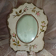 Delicious French easel boudoir photo frame : hand embroidered rosebuds : metallic lace ( no. 2 )