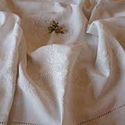 Exquisite 19th C. French ecru fine linen sheet : hand embroidery : rose : floral garlands : 97 x 148 inches
