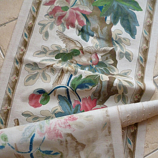 Rare 19th C. French hand printed toile panel : birds : vegetation : + 5 yards : projects
