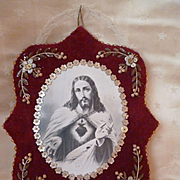 Decorative old French textile reliquary : Jesus : sacred heart : flowers : beads : sequins