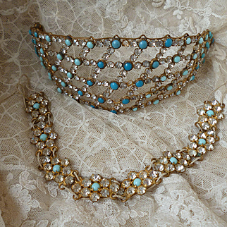 Bejeweled showy faux turquoise paste stone diadem or hair ornament & choker : flapper era : theatre