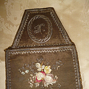 Rare 18th century French purse : bourse : silver metallic & silk hand embroidery: floral motifs : monogram