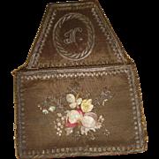 Rare 18th century French purse : bourse : silver metallic & silk hand embroidery: floral motifs : monogram