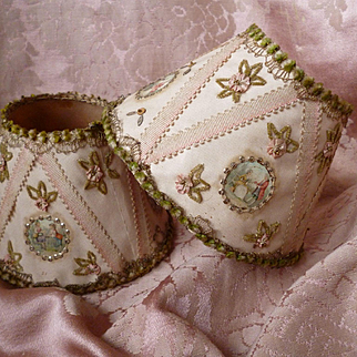 Utterly delicious pair hand made pink boudoir light shades : cartouches : ribbon work : sequins : metallic trim
