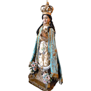 Magnificent 19th C. Spanish hand carved wood & polychrome Madonna statue : original clothing : glass eyes