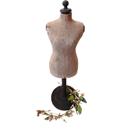 French miniature  old display mannequin : dummy : dress form : doll size : 17 1/2 inches high