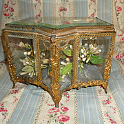 Unusual 19th C. French ormolu & bevelled glass wedding casket : blue cushion : floral garland & swag motifs