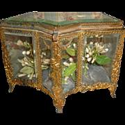 Unusual 19th C. French ormolu & bevelled glass wedding casket : blue cushion : floral garland & swag motifs