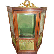 Rare doll size antique French miniature display cabinet : vitrine : floral swags : perfect fashion doll accessory