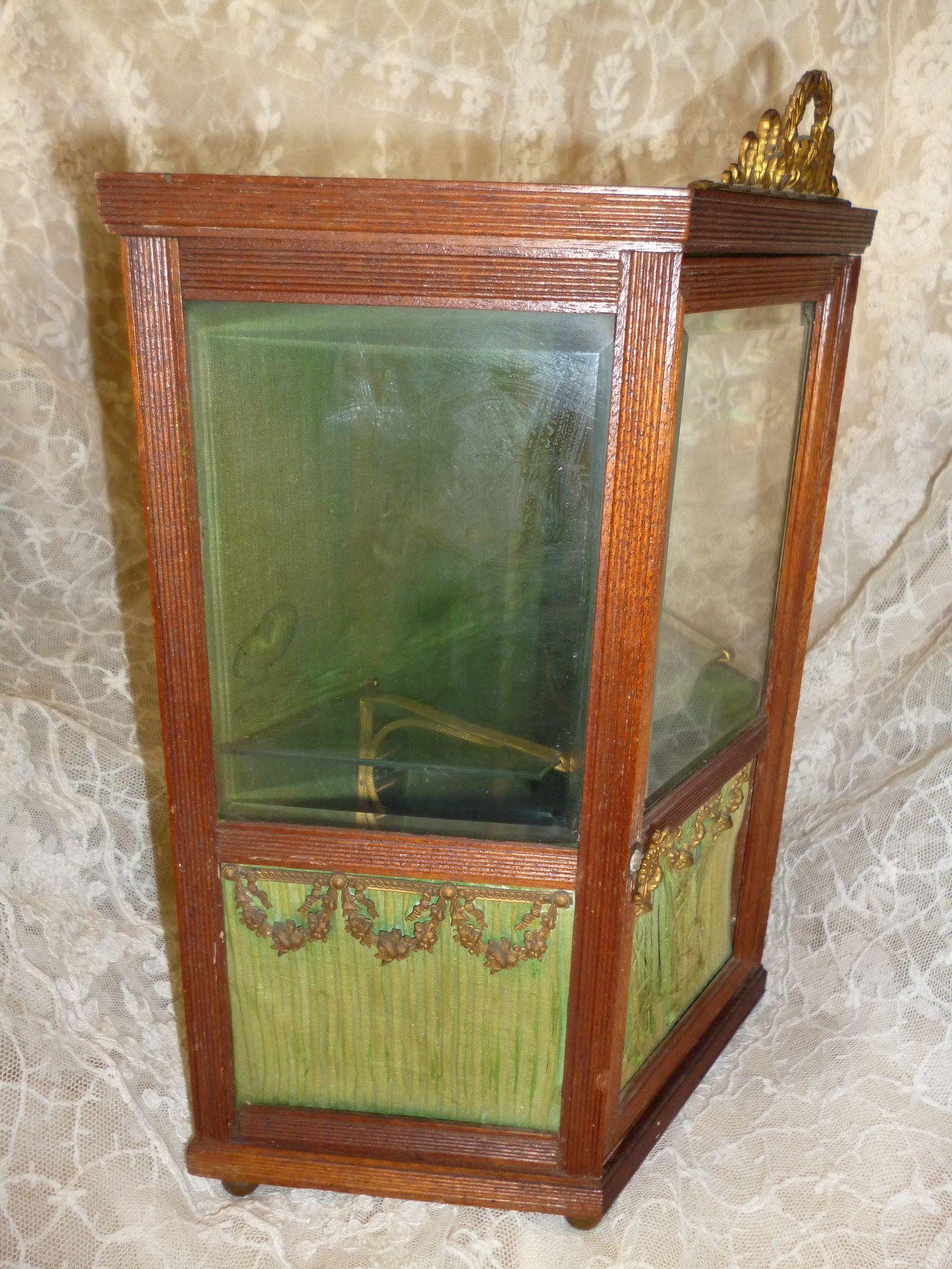 Rare doll size antique french miniature display cabinet for Sideboard vitrine