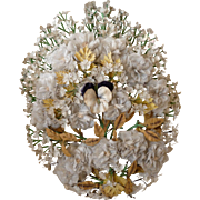 Faded grandeur 19th C. French artificial flower bride's wedding bouquet : pansy