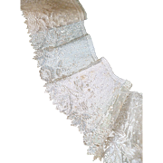 2 exquisite flounces 19th C. French ecru Alencon lace with floral and foliage motifs : + 4 1/2 yards : hand made