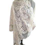 Splendid 19th C. French embellished tulle lace wedding etole : shawl : blonde de Caen motifs