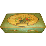 Faded grandeur old French hand painted wooden sewing box : basket flower : floral swag : butterfly motifs