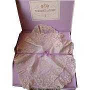 Rare ensemble exquisite 19th French bridal wedding hanky : original  box : noble family : monogram : crown