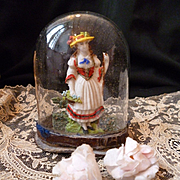 Rare 18th century miniature French glass display dome diorama : young girl : perfect fashion doll accessory ( No. 1)